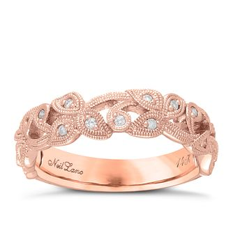 Neil Lane Designs 14ct Rose Gold 0.11ct diamond vine band - Product number 5856132