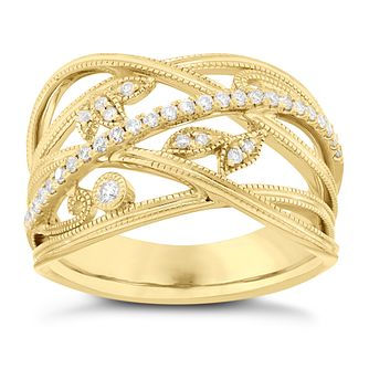 Neil Lane 14ct Yellow Gold 1/5ct Diamond Leaf Band Ring - Product number 5856663