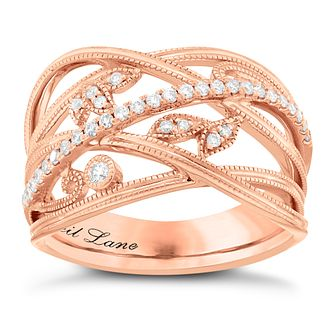 Neil Lane 14ct Rose Gold 1/5ct Diamond Leaf Band Ring - Product number 5856809