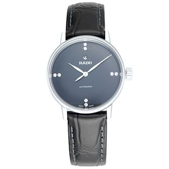 Rado Coupole Ladies' Black Leather Strap Watch - Product number 5859476