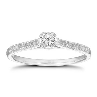9ct White Gold 1/4ct Diamond Solitaire Ring - Product number 5859492