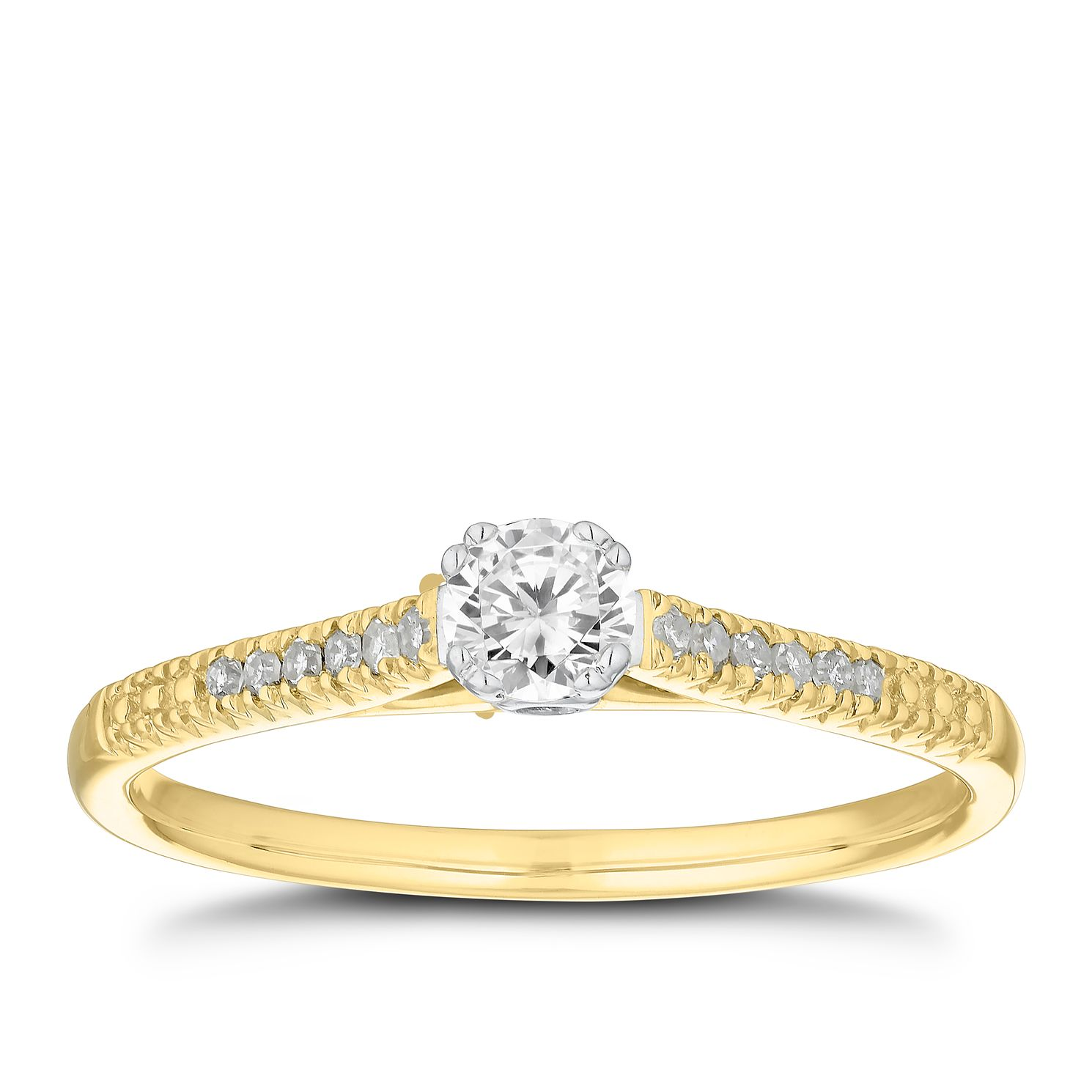 9ct Yellow Gold 1/4ct Diamond Solitaire Ring - Product number 5859735