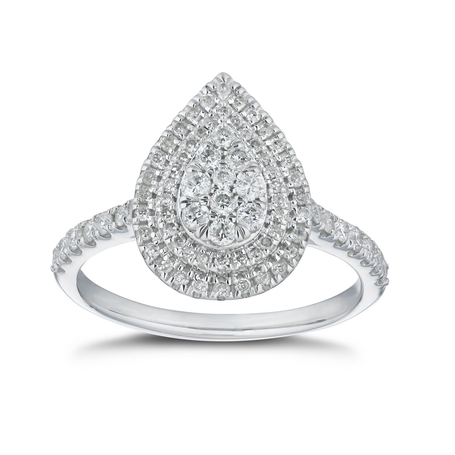 9ct White Gold 1/2ct Diamond Pear Shaped Cluster Ring - Product number 5860784