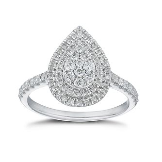 9ct White Gold 0.50ct Total Diamond Pear Shaped Cluster Ring - Product number 5860784