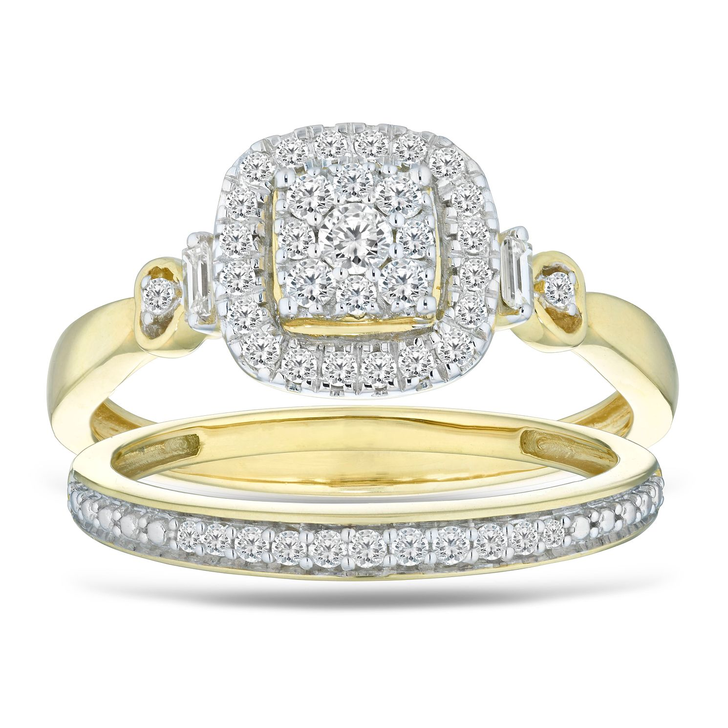 Perfect Fit 9ct Yellow Gold 1/3ct Diamond Bridal Ring Set - Product number 5861152