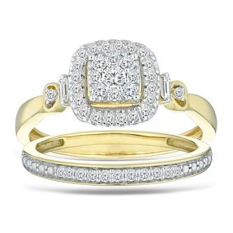 9ct Yellow Gold 1/3ct Diamond Cushion Perfect Fit Bridal Set - Product number 5861152