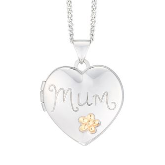 Sterling Silver & 9ct Yellow Gold Mum Locket - Product number 5861411