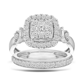 9ct White Gold 0.80ct Diamond Perfect Fit Bridal Set - Product number 5861543