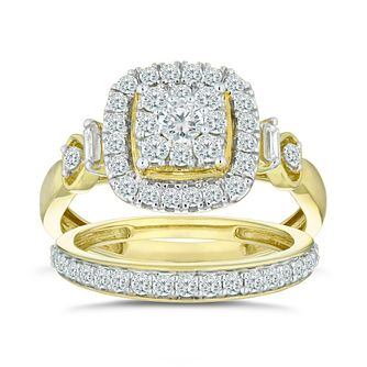 9ct Yellow Gold 0.80ct Diamond Perfect Fit Bridal Set - Product number 5861934