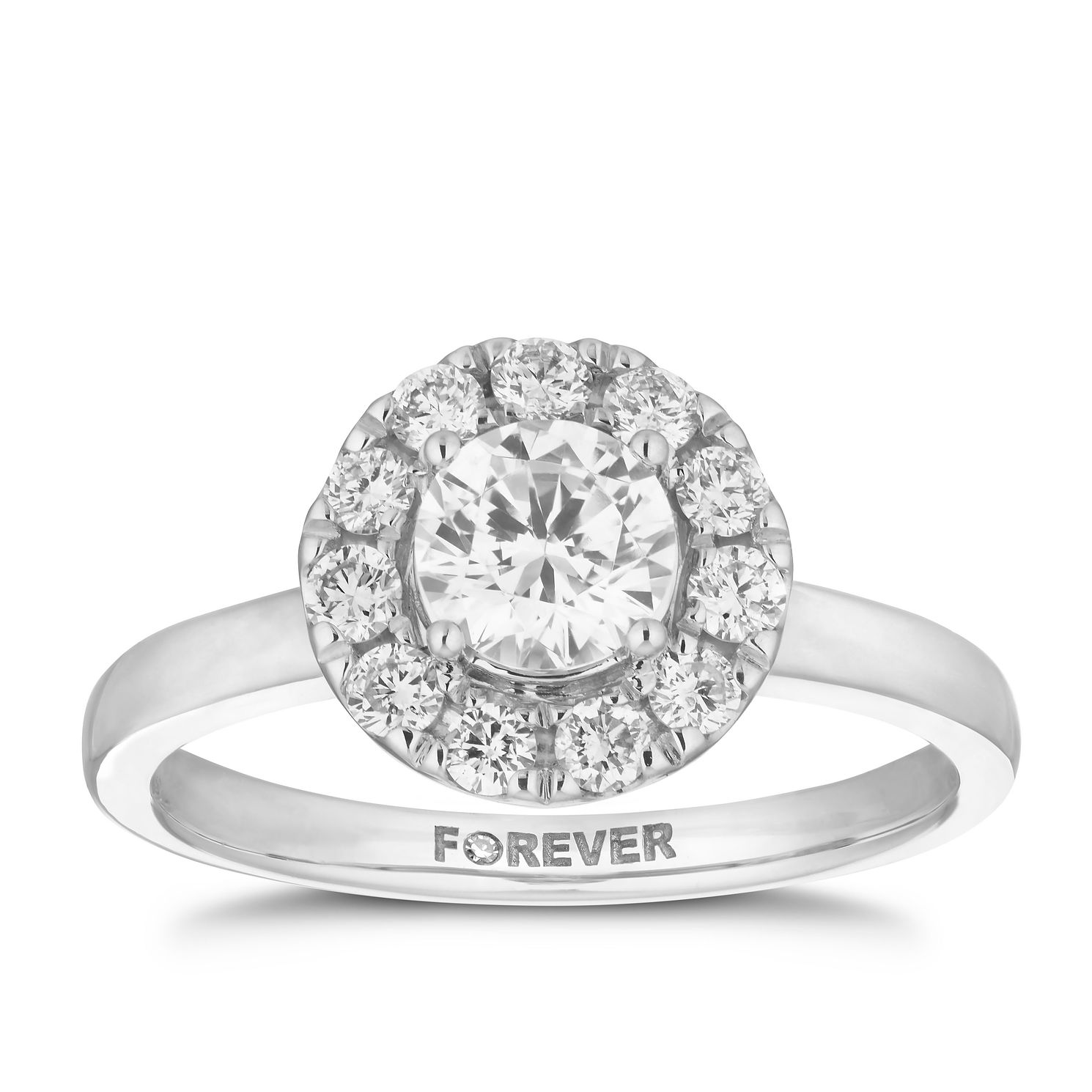 18ct White Gold 1ct Forever Diamond Halo Ring - Product number 5863759