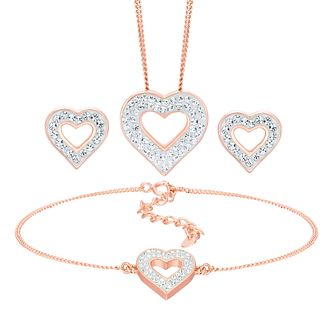 Evoke Rose Gold Plated Crystal Heart Jewellery Set - Product number 5864704