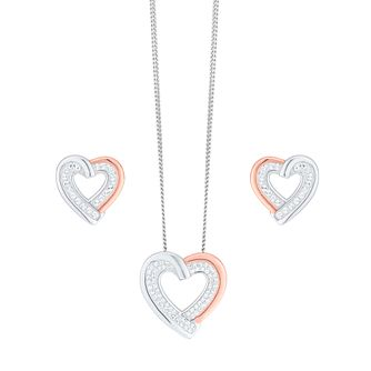 Evoke Silver & Rose Gold Swarovski Necklace & Earring Set - Product number 5864712