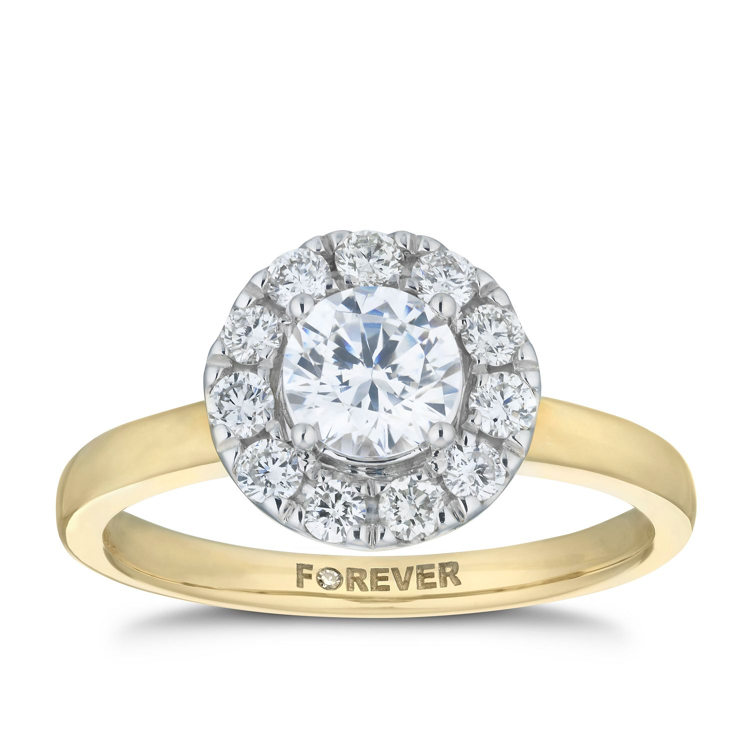 18ct Yellow Gold 1ct Forever Diamond Halo Ring - Product number 5864755
