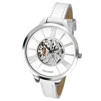 Sekonda Ladies' White Dial White Leather Strap Watch - Product number 5865905