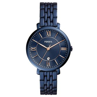 Fossil Ladies' Blue Leather Strap Watch - Product number 5865972