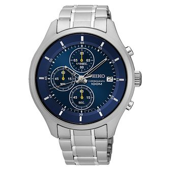 Seiko Men's Blue Chronograph Dial Stainless Steel Watch - Product number 5866650