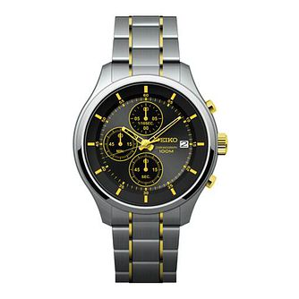 Seiko Men's Black Chronograph Dial Two Tone Bracelet Watch - Product number 5866669