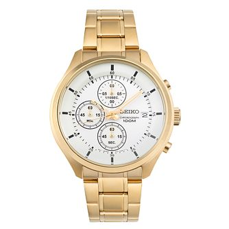 Seiko Men's White Chronograph Dial Gold Tone Bracelet Watch - Product number 5866677