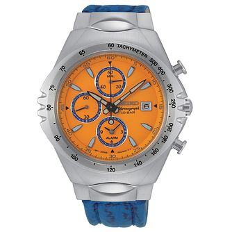 Seiko Macchina Sportiva Men's Blue Leather Strap Watch - Product number 5866685