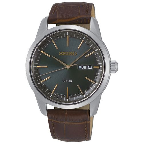 Seiko Solar Men's Brown Leather Strap Watch - Product number 5866707