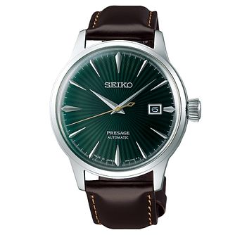 Seiko Presage Men's Dark Brown Leather Strap Watch - Product number 5866847