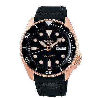 Seiko 5 Sports Men's Black Leather Strap Watch - Product number 5866960
