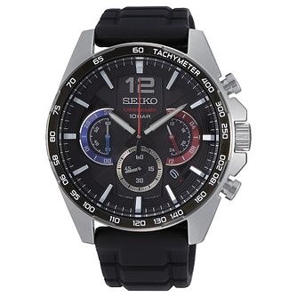 Seiko Chronograph Men's Black Silicone Strap Watch - Product number 5867029