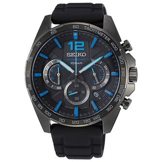 Seiko Chronograph Men's Black Silicone Strap Watch - Product number 5867037