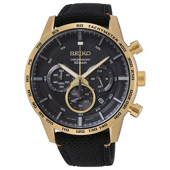 Seiko Chronograph Men's Black Fabric Strap Watch - Product number 5867045