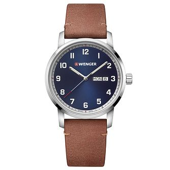 Wenger Attitude Men's Light Brown Leather Strap Watch - Product number 5867134