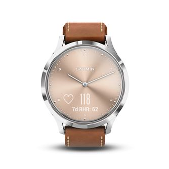 Garmin Vivomove HR Tan Leather Strap Hybrid Smartwatch - Product number 5867207