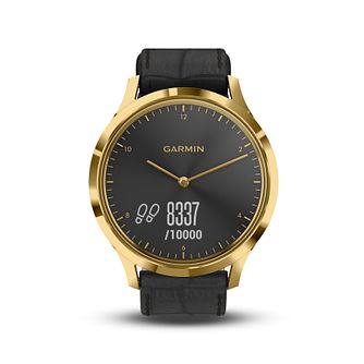Garmin Vivomove HR Black Leather Strap Hybrid Smartwatch - Product number 5867223