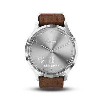 Garmin Vivomove HR Brown Leather Strap Hybrid Smartwatch - Product number 5867231