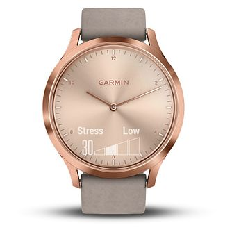 Garmin Vivomove HR Grey Leather Strap Hybrid Smartwatch - Product number 5867274