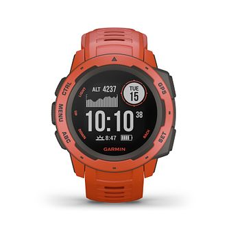 Garmin Instinct GPS Flame Red Silicone Strap Watch - Product number 5867517