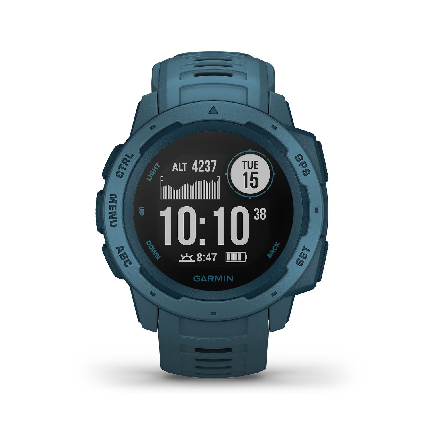 Garmin Instinct GPS Lakeside Blue Silicone Strap Watch - Product number 5867533