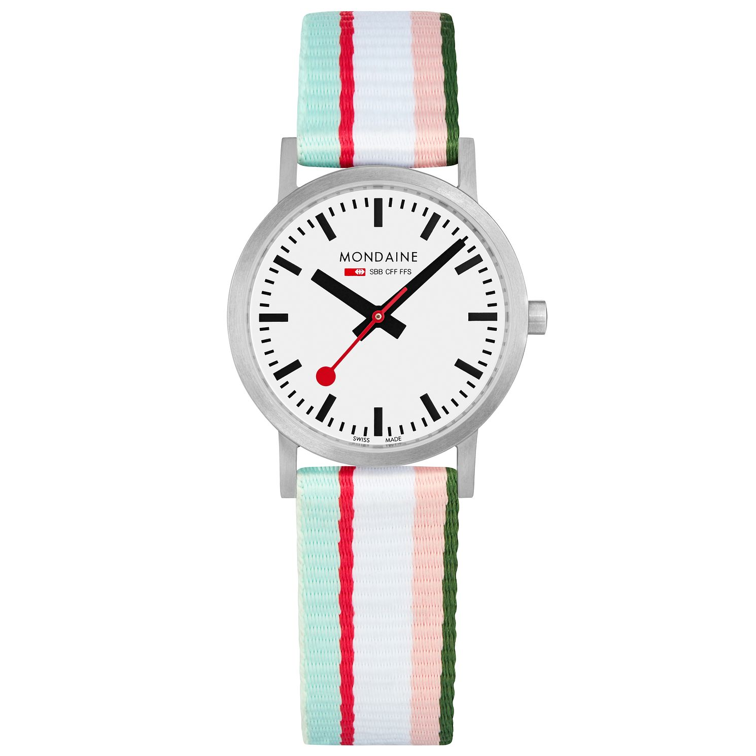 Mondaine Classic Ladies' Multicoloured Stripe Strap Watch - Product number 5867754