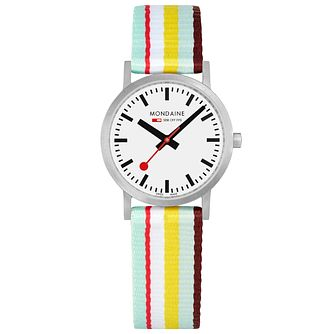 Mondaine Classic Ladies' Multicoloured Stripe Strap Watch - Product number 5867762