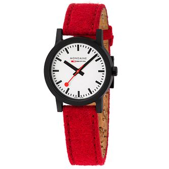 Mondaine Essence Ladies' Red Eco-Fabric Strap Watch - Product number 5867770