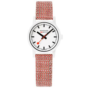 Mondaine Essence Ladies' Red Woven Fabric Strap Watch - Product number 5867789