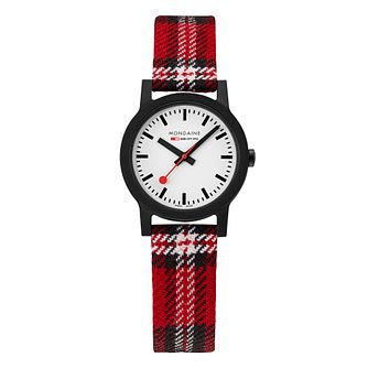 Mondaine Essence Ladies' Red Striped Fabric Strap Watch - Product number 5867800