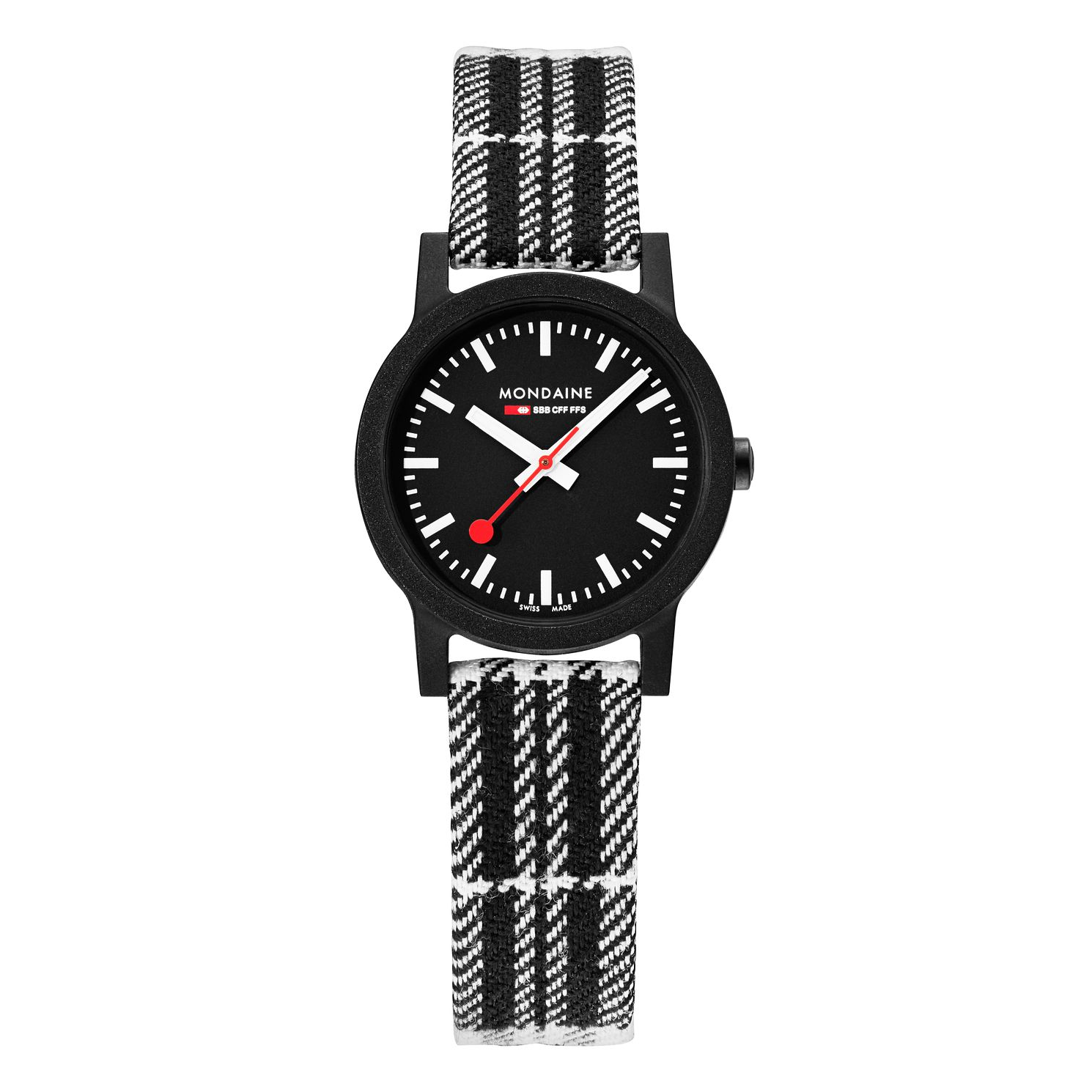 Mondaine Essence Ladies' Black Striped Fabric Strap Watch - Product number 5867819