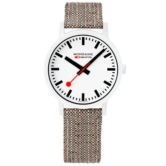 Mondaine Essence Men's Brown Woven Fabric Strap Watch - Product number 5867835