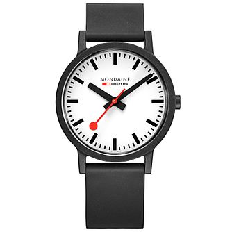Mondaine Essence Men's Black Rubber Strap Watch - Product number 5867843