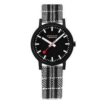 Mondaine Essence Men's Black Striped Fabric Strap Watch - Product number 5867851