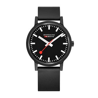 Mondaine Essence Men's Black Rubber Strap Watch - Product number 5867878