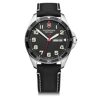 Victorinox Fieldforce Men's Black Leather Strap Watch - Product number 5867983