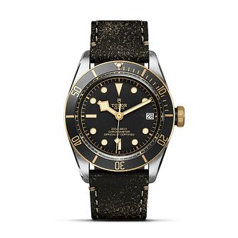 Tudor Black Bay Men's Two Tone Black Leather Strap Watch - Product number 5868254