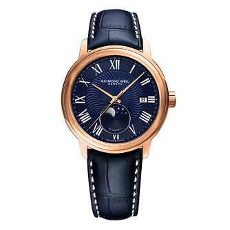 Raymond Weil Maestro Men's Blue Leather Strap Watch - Product number 5868378