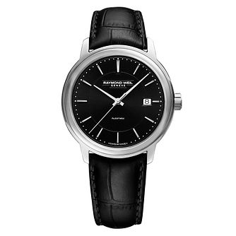 Raymond Weil Maestro Men's Black Leather Strap Watch - Product number 5869056
